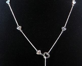 Tiffany & Co Sterling Silver Necklace With 10 Open And Solid Hearts