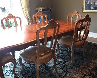 Century Parquet top Table w/  8 Dinnig Chairs