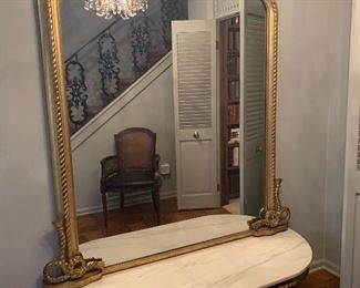 Pier mirror on marble top base