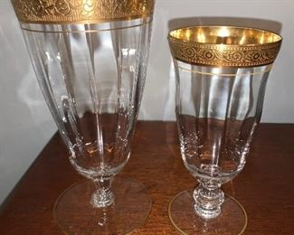 Lotus 22k gold rimmed stemware; 12 water and 14 juice glasses