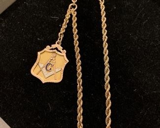 10k watch chain with masonic fob
