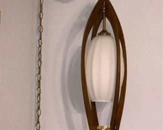 Mid century modern danish wooden electric hanging light pendant.