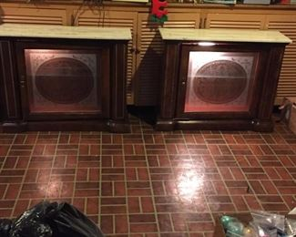Small lighted curio cabinets with marble top $125 for both