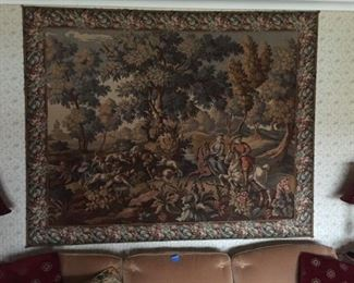 French Hunting themed Tapestry, large 7' x 5.5'  $350