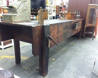 Antique Work Bench with Drawer and Original Vise.  It's a beauty!!