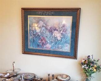"Great vintage console/sofa table, Lena Liu ""Iris Garden"", signed & numbered, silverplate serveware, forged aluminum serveware"
