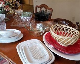 "Blue banana split oval bowls-set of  12, ceramic basketweave vase, set of 3 graduated trays, salad bowl set, square bowl & matching square tray-beautiful!, crystal vases, large AH Prescut vintage glass vase, ""Golden Rhapsody"" pattern of Kaysons Fine China (Japan, 1961) serveware (oval bowl, oval tray, & attached gravy boat), brown Fiestaware oval platter"