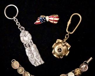 Key chains and vintage bracelet