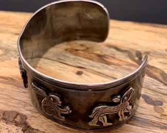Vintage Rafael Dominguez .980 silver cuff bracelet with whimsical animals design, Taxco Mexico. 50% off all weekend!
