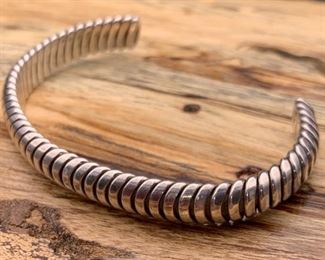 Vintage flexible ribbed design cuff bracelet, Mexico. 50% off all weekend!