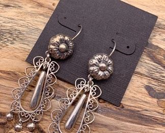 .950 silver Frida collection earrings, a quality new reproduction of a vintage design, Mexico. 50% off all weekend!