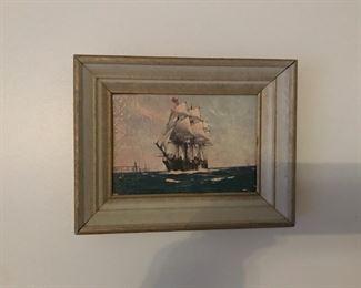 Vintage ship framed print by Frank Vining Smith