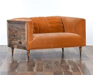 Contemporary Retro Reclaimed Style Side Panel Loveseat