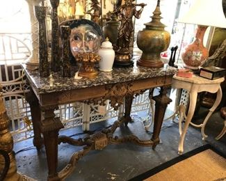 19th Century bleached walnut English carved console with stone top.