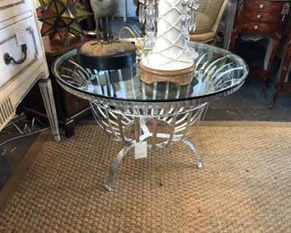 Mid-century silvergilt iron cocktail table.
