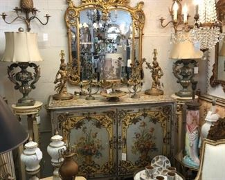 19th Century Venetian cabinet, giltwood Italian mirror, fantasy Italian table lamps, pineapple sconces.