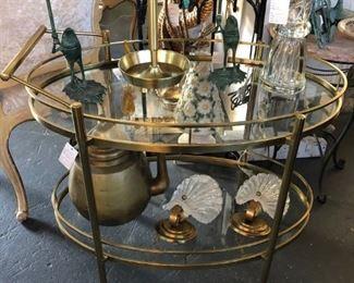 Mid-century polished brass tea cart.