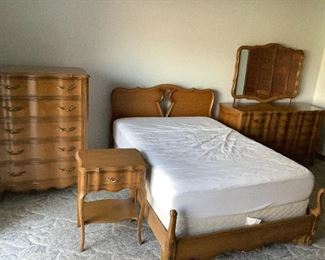 Full size bed, chest dresser with mirror, end table and mattress