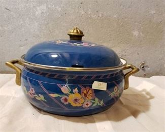 Vintage Enamel Cooking Pot -Floral Blue