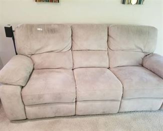 Beige Microfiber Couch with Dual Recliners
