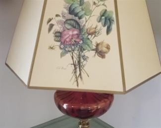 Cranberry Glass Floor lamp, needs switch repair