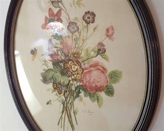 One of pair, floral prints
