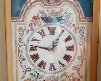 Vintage Needlepoint clock, made by Grandmother