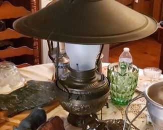 Antique hanging lamp, needs repair, parts complete