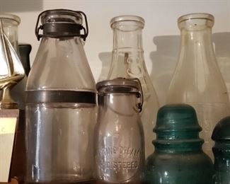 Antique milk bottle collection, some local
