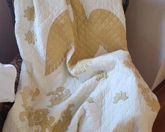 Handmade applique quilt, eagle design