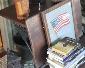 Antique desk, Binoculars, Cast Iron Owl, Brass Bucket, Wheel Spoke lamps