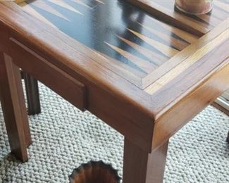 Backgammon table with game pieces