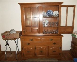 """Johnson Brothers china set """"Cotswold"""" pattern,  lovely maple hutch in excellent condition."""