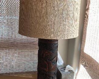 Japanese wood carved lamp $100