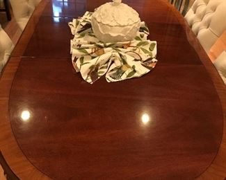 Pretty cross-banded dining room table