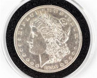 Lot 399 - Coin 1890-CC Morgan Silver Dollar Almost Unc.