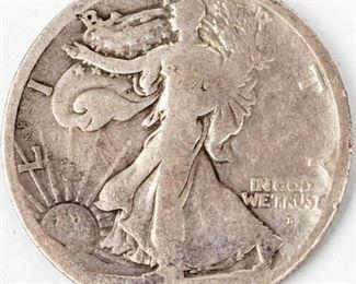 Lot 284 - Coin 1916-D Ovb. Walking Liberty Half Dollar VG