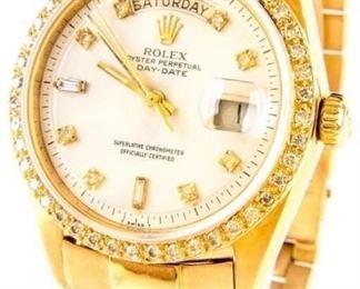 Lot 5 - Jewelry Men's 18kt Gold Diamond Rolex Wrist Watch