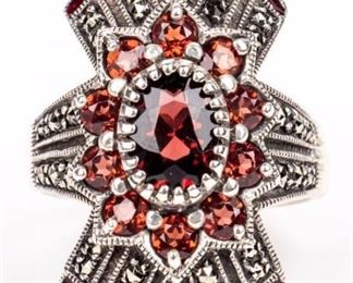 Lot 10 - Jewelry Sterling Silver Garnet Cocktail Ring