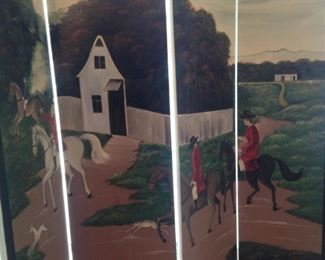 Four panel  equestrian theme room divider
