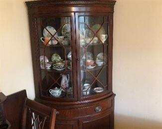 Duncan Phyfe curved corner cabinet