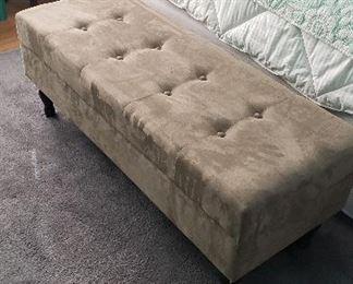 Velour storage bench