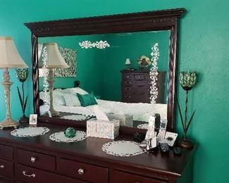 Dresser w/mirror also dresser lamps
