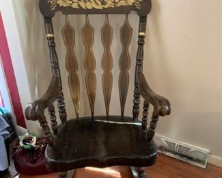 #4		Heavy Rocking Chair w/Floral Pattern top	 $65.00