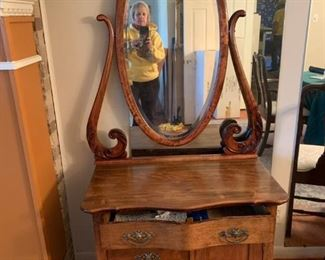 #6		Dresser w/3 drawers & 1 door w/oval Beveled Mirror  & dovetailed drawers 32x18x27  Mirror  34x41	 $125.00