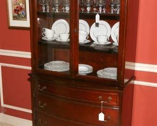 Mahogany 4 drawer china cabinet