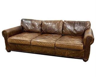 Lot 001 Restoration Hardware Luxe Italian Lancaster Leather Sofa