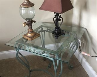 Pair of Glass Top Tables