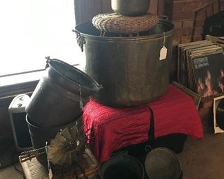 Copper buckets and pots