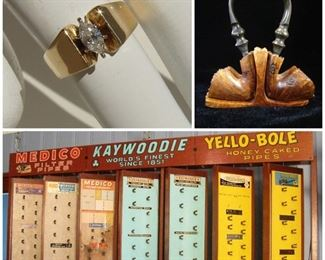 Wall Sized Vintage Rotating Pipe Display Feat. Medico, Kaywoodie, Yello-Bole, plus (Lot 101), Ladies vintage 14K yellow Gold Marquee Diamond Ring .42Ct VS2 (Lot 151),